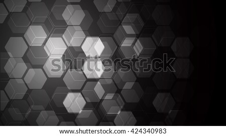 Vector Abstract science Background. black Hexagon geometric design. EPS 10. science innovation concept abstract background - stock vector
