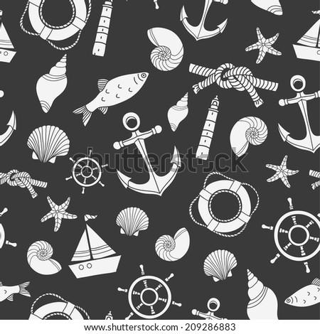 Vector abstract sea seamless pattern. - stock vector