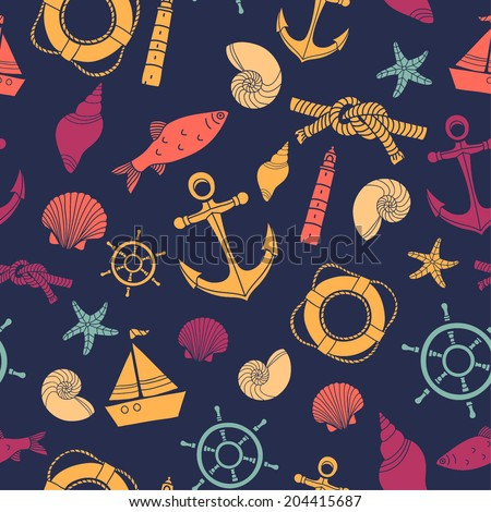 Vector abstract sea seamless pattern. Vector abstract ocean seamless pattern. Sea pattern. - stock vector