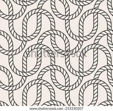 Vector abstract seamless background. Line pattern. Interweaving marine rope - stock vector