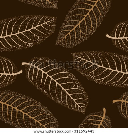 Vector abstract seamless floral autumn pattern with lacy bronze and gold beige walnut leaves silhouette on a dark brown black background. Thanksgiving Day and Halloween party decoration. - stock vector