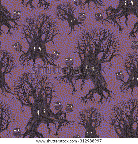 Vector  abstract seamless floral fantasy pattern of dark grey tree silhouette with yellow eyes, contoured owl on a dappled beige ginger orange and purple blue background. Halloween party decoration - stock vector