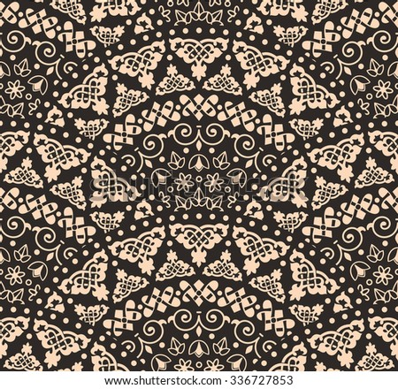 Vector abstract seamless geometric background from beige and black fan shaped ornate elements with ethnic patterns. Style mandala pattern in vintage design - stock vector