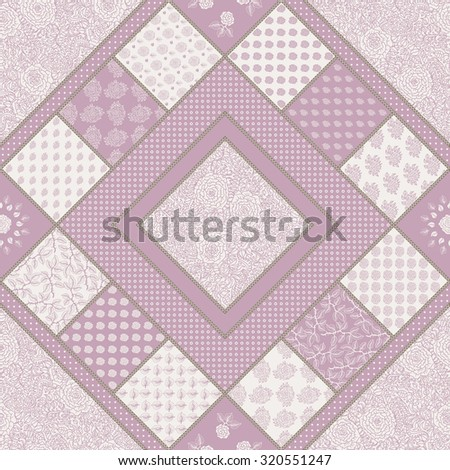 Vector abstract seamless geometrical patchwork pattern from ash pink and light beige floral lacy ornaments from stylized rose flowers and leaves in country style. Textile design, pillow embroidery - stock vector