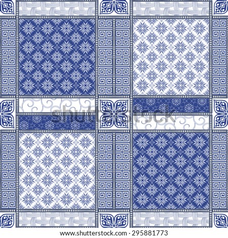 Vector abstract seamless patchwork pattern with geometric oriental ornaments, stylized flowers, stars, snowflakes and lace on the dark blue background. Vintage boho style. - stock vector
