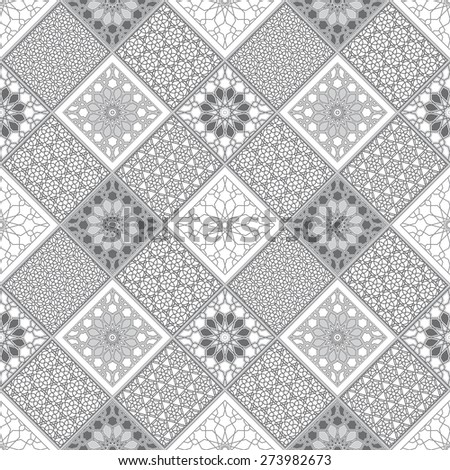 Vector abstract seamless patchy pattern from dark grey and white geometric Oriental ornaments, stylized stars and radial rosette on light gray background - stock vector