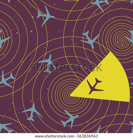Vector abstract seamless pattern with airplanes and radar screen - stock vector