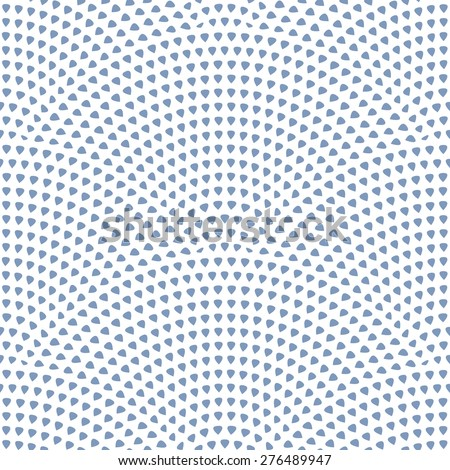 Vector abstract seamless pattern with geometrical  layout. Dark small blue drop-shaped elements on white background - stock vector