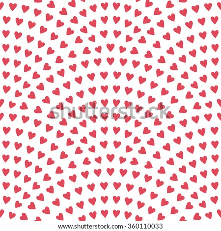 Vector abstract seamless wavy pattern with geometrical fish scale layout. Red pink stylized  hearts on a light white background. Fan shaped Valentine Day ornament. Holiday decoration. Wrapping paper - stock vector