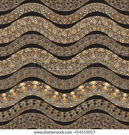 Vector abstract seamless zig zag pattern with stylized snake skin silhouette.Horizontal golden waves,lacy tribal ornaments on a black background.Wallpaper, wrapping.Folk, ethnic.Ten brushes in palette - stock vector