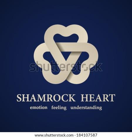 vector abstract shamrock heart symbol - stock vector