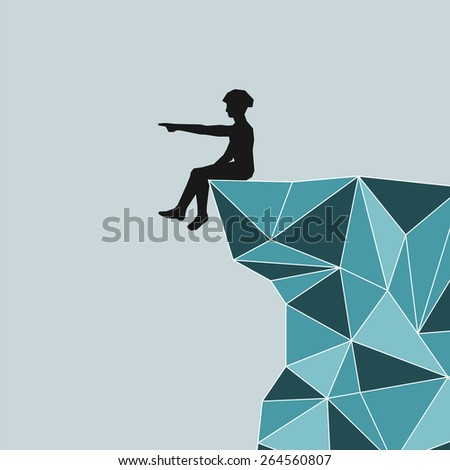 Vector abstract silhouette climber sitting on the edge of the mountain and shows his hand into the distance - stock vector