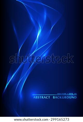 Vector abstract smoke blue background - stock vector