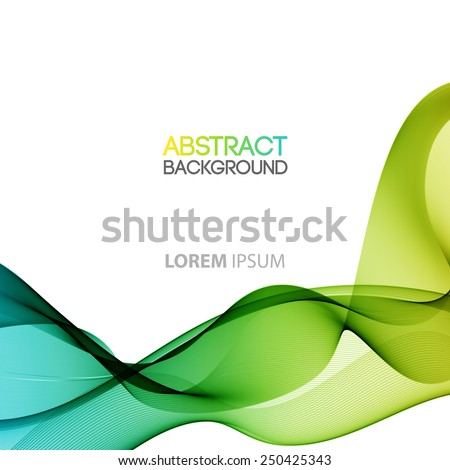 Vector Abstract smoky waves  background. Template brochure design - stock vector