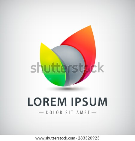 vector abstract sphere colorful icon, logo isolated - stock vector