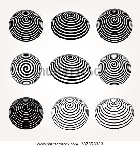 Vector abstract spirals set. - stock vector
