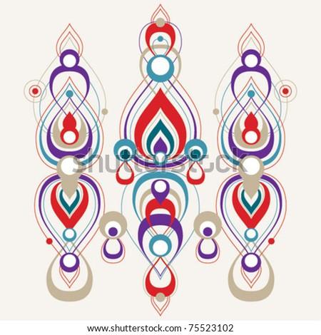 Vector abstract teardrop shape decorative pattern - purple  - stock vector