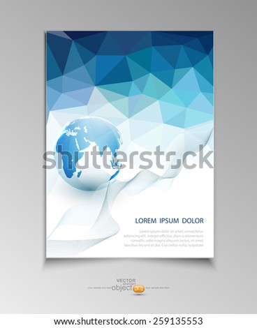 vector abstract template brochure for business with blue triangles and the globe  - stock vector