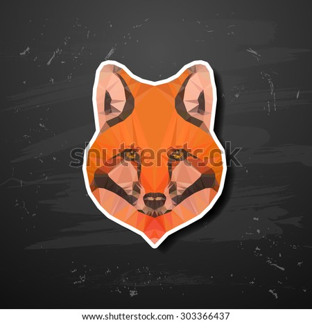 vector abstract triangle polygonal fox snout origami animal style abstract triangle polygonal - stock vector