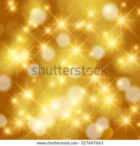 Vector abstract twinkled bright background with bokeh defocused golden lights. Holiday background. - stock vector