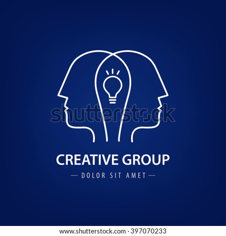 Vector abstract two people with light bulb. Vector logo design. Concept for social network, team work, partnership, friends, business cooperation, coworking, creative team, group logo - stock vector
