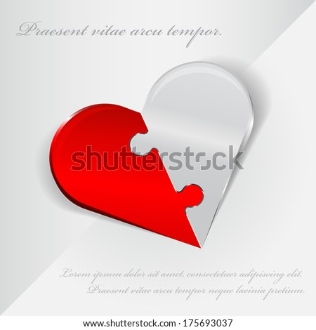Vector abstract Valentine background with folding heart of two parts as puzzle - stock vector