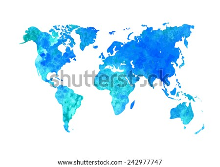 Vector abstract watercolor background of business flyer. The map template. Grunge world map. - stock vector
