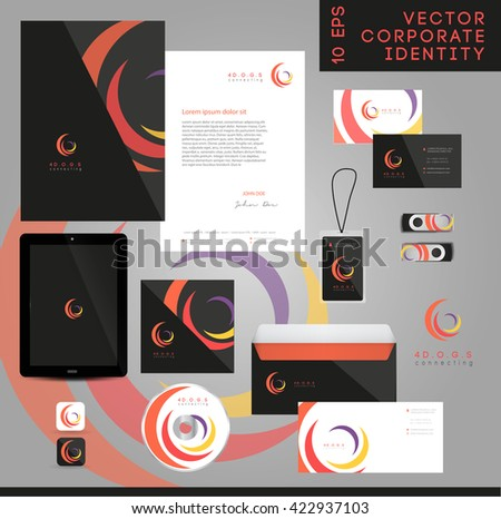 VECTOR ABSTRACT WHIRL LOGO / ICON , CORPORATE IDENTITY PACK .  - stock vector