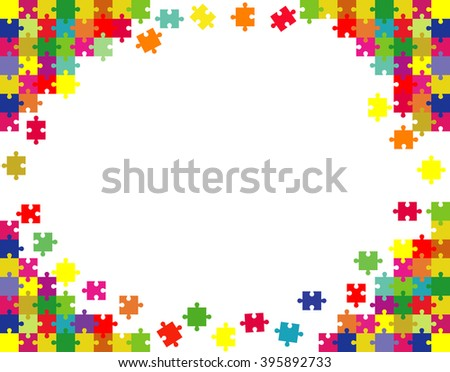 Vector Abstract white background made from color puzzle pieces and place for your content - stock vector