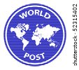 vector abstract world post rubber stamp - stock vector