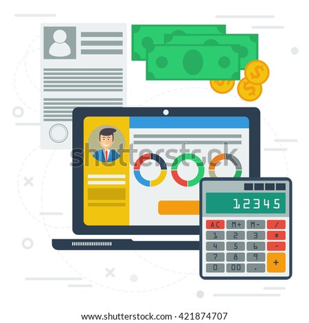 Vector accounting flat illustration with computer app on desktop. Concept of accounting services, budget planning, tax service. Laptop monitor, money, calculator, documentation, graphics - stock vector