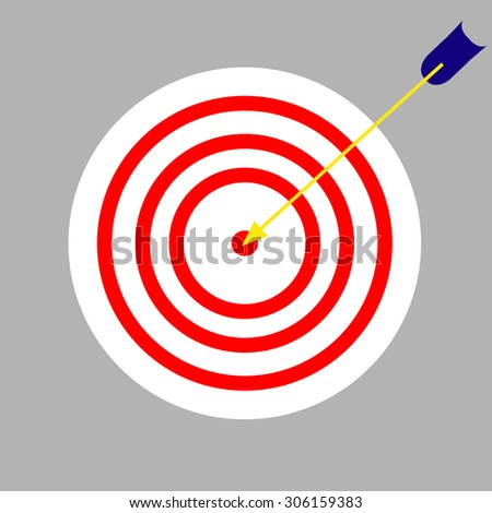 vector achievement business icon target hit by an arrow - stock vector