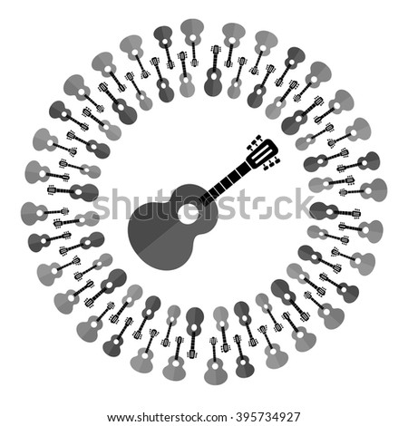 Vector Acoustic Guitar Silhouette - stock vector
