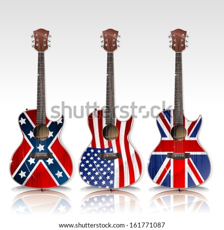 Vector acoustic guitars with flag - stock vector
