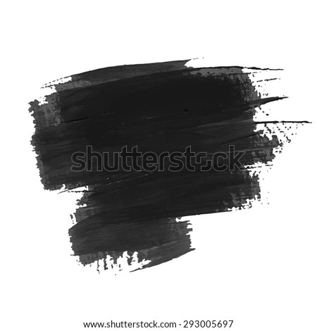 Vector acrylic black ink spot. Wet brush stroke on paper texture. Dry brush strokes. Abstract composition for design elements - stock vector