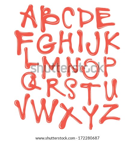 Vector Acrylic Brush Style Hand Drawn Colorful Calligraphy Alphabet Red Typeface Font - stock vector