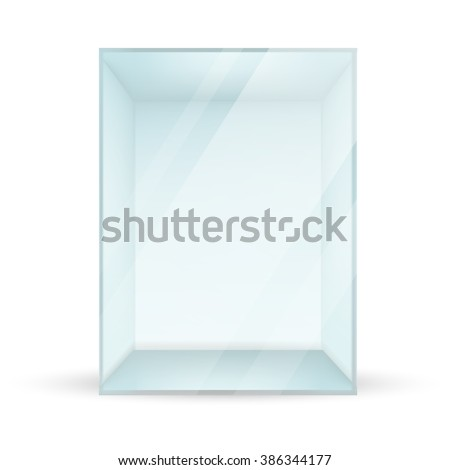 VECTOR AD: Empty rectangular glass POS POI Outdoor/Indoor 3D Advertising Display on Isolated white background. Mock-up template ready for design. - stock vector