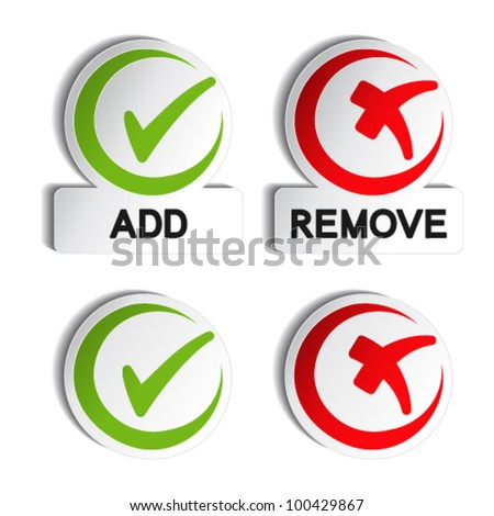 Vector add remove circular item - stock vector