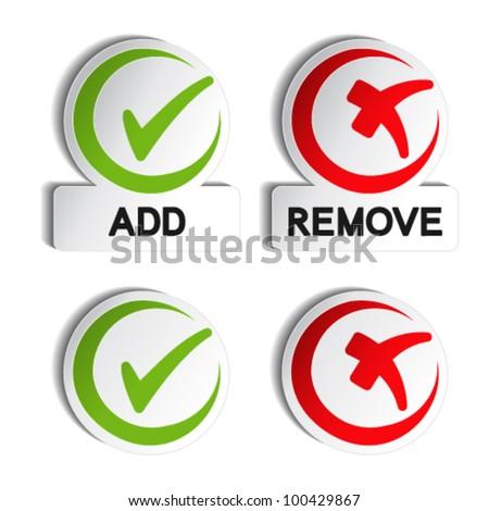 Vector add remove circular item - stock vector