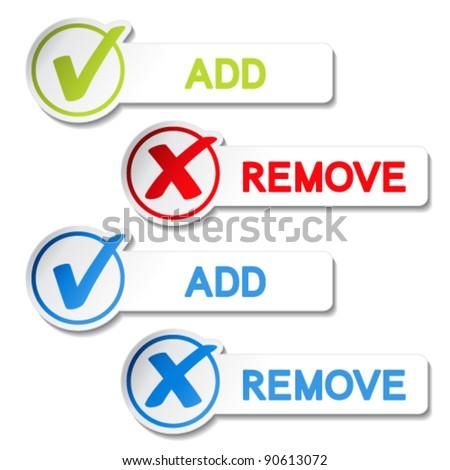 Vector add remove item - stock vector