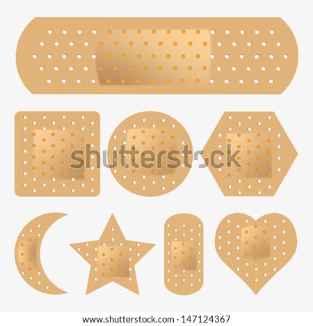 vector adhesive bandage set - stock vector