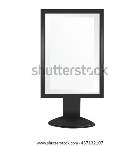 VECTOR ADS: Black Framed Glass POS POI Outdoor 3D Advertising on Isolated white background. Mock-up template ready for design. - stock vector
