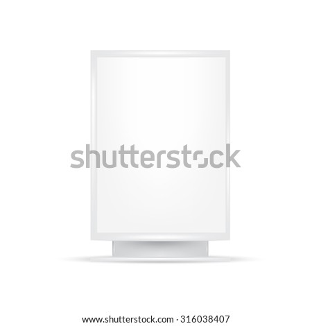 VECTOR ADS: White gray POS POI Outdoor 3D Advertising on Isolated white background. Mock-up template ready for design.  - stock vector