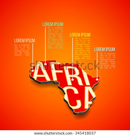 Vector africa infographics design. Africa map in perspective. African outline in 3d. Africa presentation template. Africa report layout. Africa continent - stock vector