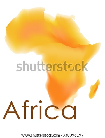 Vector africa map. Watercolor map of Africa in vector format in yellow and orange colors on a white background. African border and country name. - stock vector