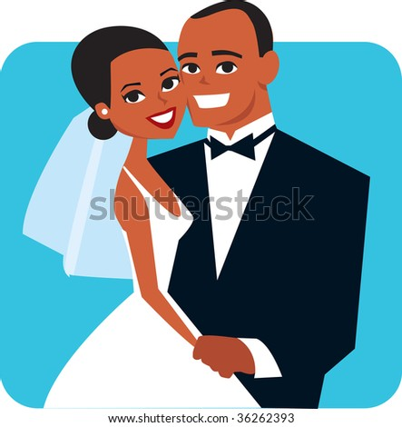 Vector African couple wedding - stock vector