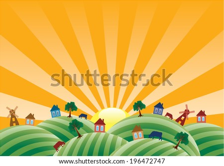 vector agricultural landscape with farm fields  - stock vector