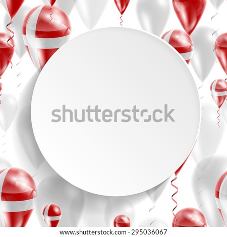 Vector air balloons festive pattern with Flag of Denmark. Celebration and gifts. Paper circle with festive balloons on a white background. Independence Day. Balloons on the feast of the national day - stock vector