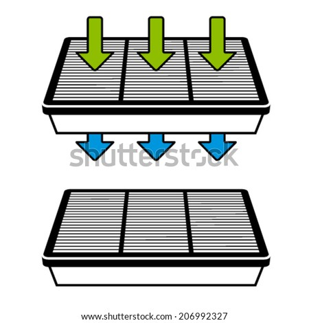 vector air filter flow symbols - stock vector
