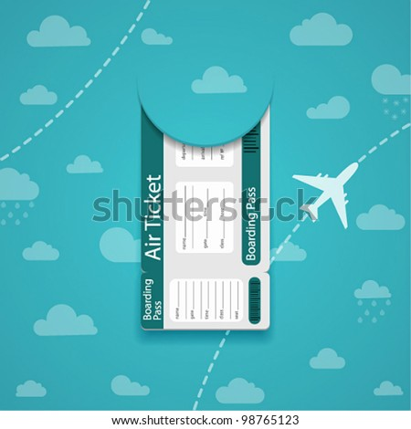 Vector air ticket on sky background. - stock vector